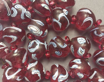 1930's French Louis Rousselet Cranberry Glass Swirly Beads Necklace on Chain