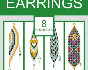 How to make brick stitch seed bead earrings. 8 projects. Book 2