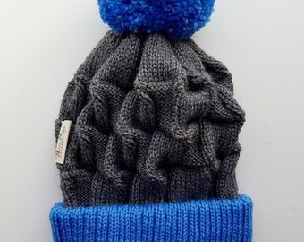 Modern Chunky Knit Beanie. Happy contrast colours. Soft, stretchy, fits perfectly for everyone