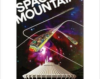 "50% Off Estate Sale Vintage Disney Parks Poster, Item 110M, 11"" x 14"" Matte, Mat, Disneyland, 1977,  Space Mountain"