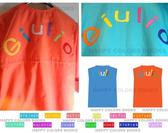 """Apron tunic """"Balocco CLICKS-Coat"""" with colored cotton fabric-painting school kindergarten applications and activities-Waldorf-Montessori"""
