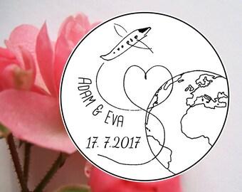 "Custom wedding stamp ""Airplane with globe"", personalized rubber stamp, wedding, personalized wedding stamp, wedding DIY, save the date stamp"