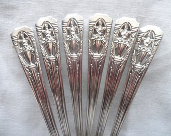 1937 Wallace Classic Filigree Silverplate Harmony House Plate AA+  Set of Six Serving Spoons