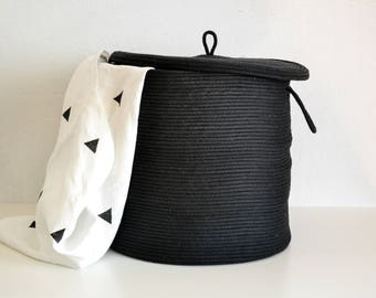 Rope basket, Storage basket, Storage basket with lid,Lidded basket, Scandinavian basket, Black basket,Laundry hamper,Toys basket,Storage bin
