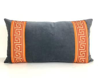 Gray Pillow Cover - Graphite GrayVelvet Lumbar Pillow with Orange Greek Key Trim