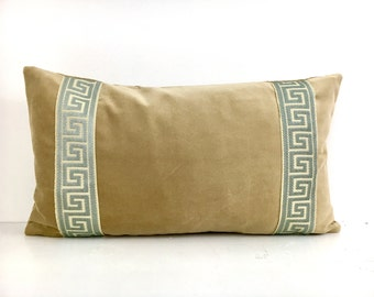 Tan Pillow Cover -Tan Velvet Lumbar Pillow with Spa Blue Greek Key Trim