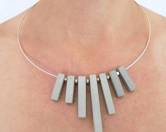 Modern jewelry, 7 pieces of cement, concrete necklace, Choker necklace jewelry of concrete.