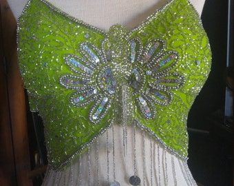 Sweet Vintage Lime Green & Silver beaded Sequin Butterfly style halter tie top with coins for Belly Dance Festival Faerie Cosplay