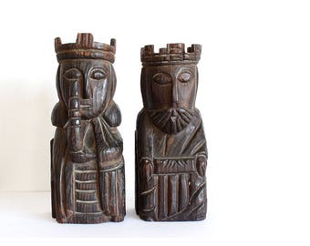 Vintage pair of kings, bookends, wooden carved, spanish decor, retro office decor