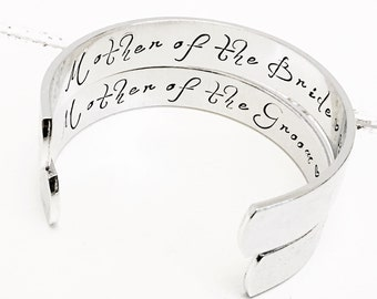 Mother of the Bride Gift | Mother of the Groom Gift | Personalized Wedding Gifts | Personalized Cuff Bracelet (W253)