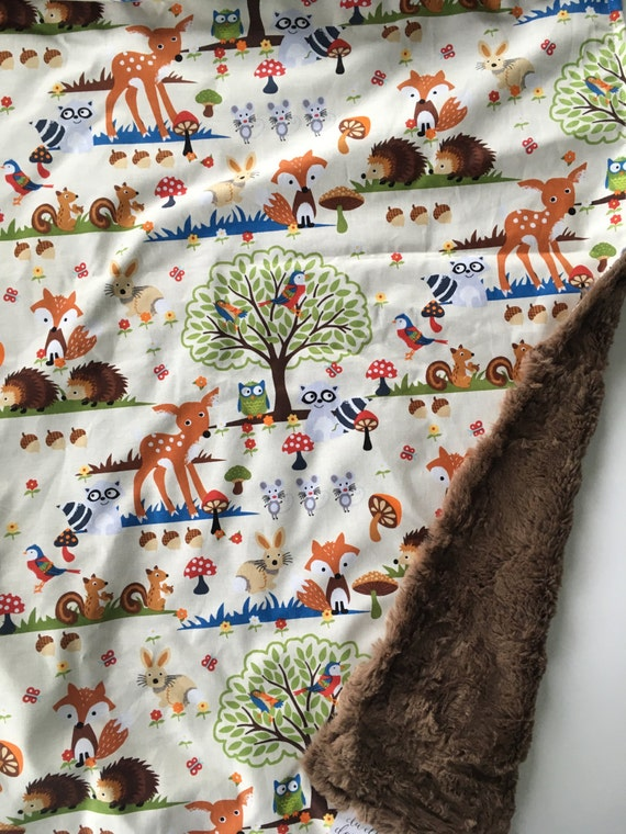 Items Similar To Woodland Forest Animal Baby Blanket