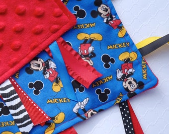 Taggie Blanket - Mickey Mouse, Mickey Mouse Blanket, Minky Blanket, Sensory Baby Blanket, Personalized Blanket