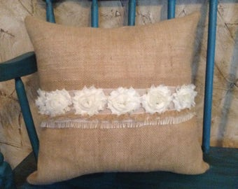 Burlap Throw Pillow with soft floral lace
