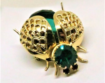 Beetle Brooch - Vintage, Gold Tone, Green and Red Glass, Flying Insect Pin