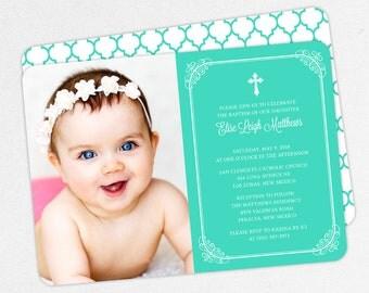 Photo Baptism Invitation, Christening Invitation, Girl Baptism Invite, Printable Baptism, PDF, DIY, Printed, Classic, Modern, Blue, Elise