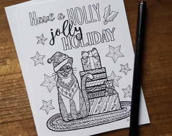 Set Of Four 4 Adult Coloring Book Inspired Cat Holiday Christmas Greeting Cards