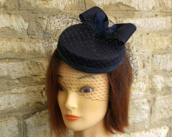Blue Pillbox hat with veil navy blue wool felt cocktail hat with fascinator veil navy blue races hat blue 1940s hat formal wedding hat
