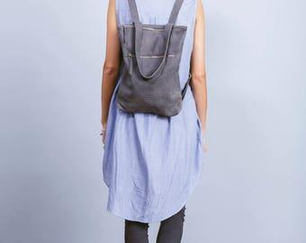 Gray leather backpack,Gray leather bag,Laptop bag,Gray shoulder bag,Zipper leather bag