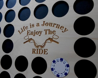 Poker Chip Frame Display Insert Life Is a Journey handlebars Fits 36 Harley-Davidson or Casino chips 11 X 14 natural birch chip holder