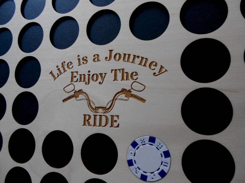Poker Chip Frame Display Insert Life Is A Journey Handlebars