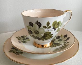 Royal Stafford Vintage Teacup Trio Tea Cup Saucer  Plate Pink and Grey Flowers