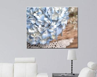 Shabby chic wall art, country charm large floral canvas art, white blue beige french country cottage decor blue hydrangea canvas art 24x30