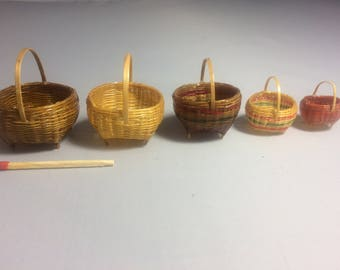 Lacquered straw baskets