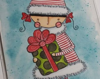 Christmas Girl with present Original mixed media painting 4x6 by Megan