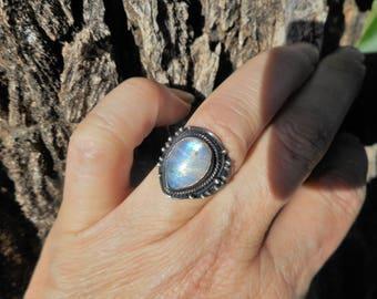 Moonstone ring, rainbow moonstone ring, size 8 ring,moonstone rings, rainbow moonstone rings, teardrop moonstone ring, moonstone jewelry