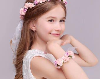 Pink White 2 PC/Set Girl Flower Wreath Crown Floral Headband Garland Wristband Wedding