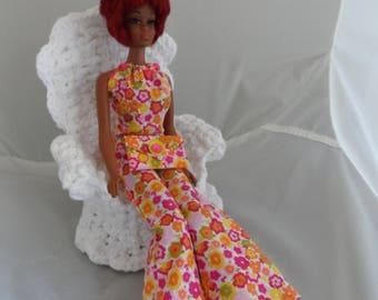 70s Retro Barbie Clothes Handmade Barbie Clothing Unique Fashion Doll Clothes Barbie Pants Set Barbie Doll Clothes Flower Power Bell Bottoms