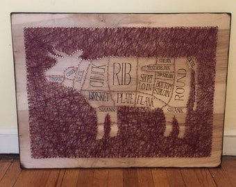 Cow Butcher Chart Copper Nail String Art