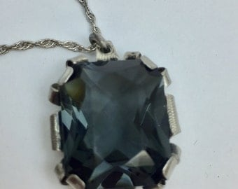 Sterling Silver and Smoky Quartz Cushion Cut Glass Stone Pendant Necklace Vintage 1980's