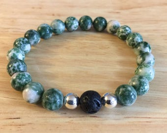 Tree Agate and Lava bracelet