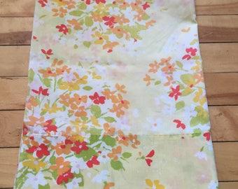 Vintage 1970s Yellow Floral Bouquet Cotton Pillowcase!