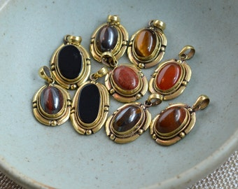Tibetan Pendants, Oval Gemstone Pendants, Brass Pendants, Nepal Stone Pendants, Onyx, Agate Pendants, Wholesale, Bulk, Pack of 9, BID170516