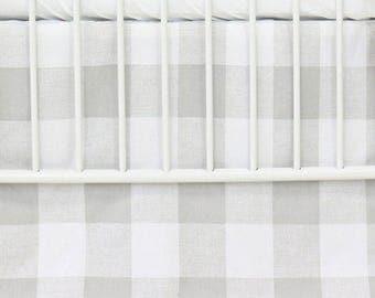Fletcher's Farmhouse Flat Panel Crib Skirt | Gray, White, Modern, Flat Panel Baby Boy Crib Skirt | Gender Neutral Crib Bedding Set
