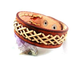 Leather bracelet brown ethnic cross for men