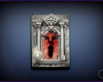 hellish dark portal, skulls gate from polymer clay journal notebook cover