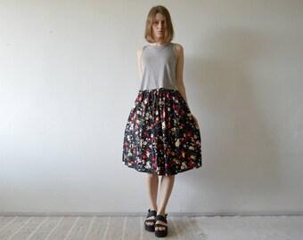 vintage floral on black full midi skirt with elastic waist xs small medium large
