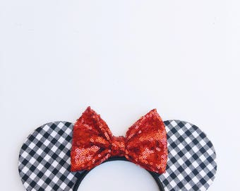 Gingham Print Mouse Ears