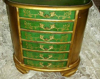 Gorgeous Florentine Musical Large 6 Drawer Jewelry Box, Green and Gold Florentine Jewelry box