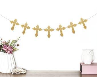 Baptism Banner, Cross Banner, Christening Banner, Holy Communion Banner, God Bless Banner, Bless This Child, Baptism Party Decorations, Gold