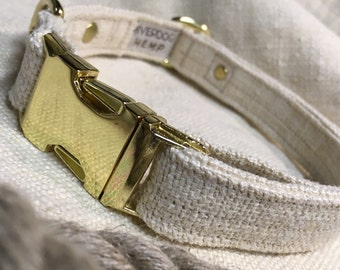 "HeMP Dog Collar Natural Martingale Dog collar or Quick Release 5/8"" 3/4"" 1"" Wide Dog Collar Adjustable Dog Collar"