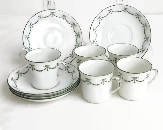 5 antique demitasse cups and saucers, Foley China by E Brain & Co, England, pattern 0387, green ribbon garlands on white bone china, 1910s