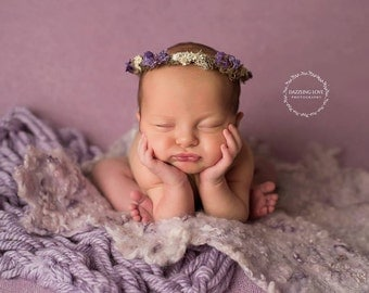 Dried floral halo, Newborn photography prop, Handmade crown, Floral crown, Flower crown, Dried flowers, Photo prop, Newborn photo prop