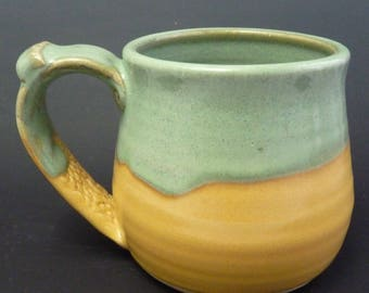 Stoneware Coffee Cup, Spring Green and Lemon Yellow