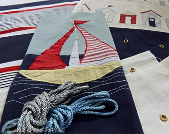 Navy blue fabric bundle Nautical patchwork applique sewing pack Beach house decor Assortment of cottons  Fabric from Voyage Decoration .