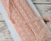"""5 yard Cut Vintage Lace Trim - 1/2"""" Wide Overdyed Pink Peach Picot Scalloped  -S2OBS"""