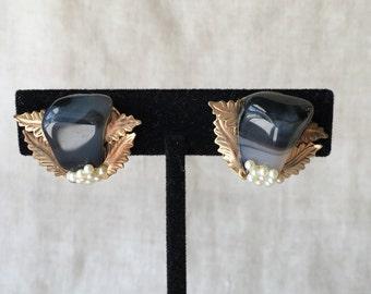 Vintage Black Agate Earrings, Faux Pearl, Clip Ons, Semi Precious Stone, PK144